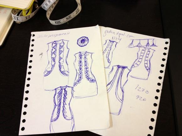 Marcia's inital sketches