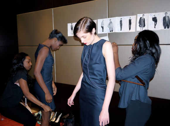 Dressing models backstage at our Launch Party in September 2012